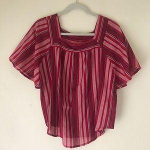 Bohemian Striped Linen Top